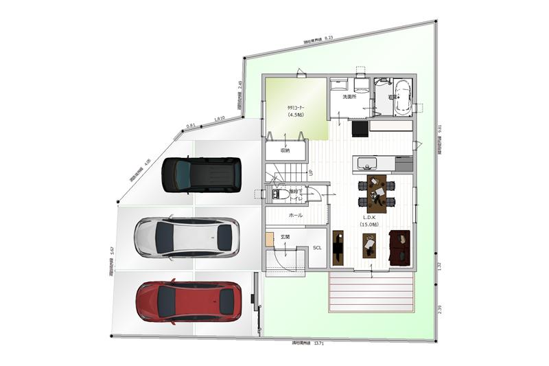 イメージ図 車は2〜3台駐車可能です